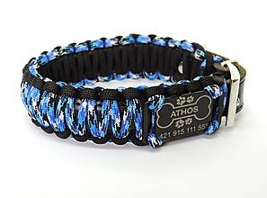 Pre zvieratká - Paracord obojok+ID známka - modrý gekon - 10943903_