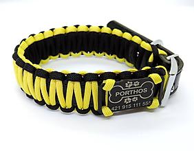 Pre zvieratká - Paracord obojok+ID známka - žlto-čierny - 10943907_