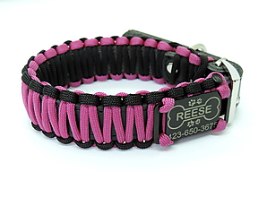 Pre zvieratká - Paracord obojok+ID známka - ružovo-čierny - 10943925_