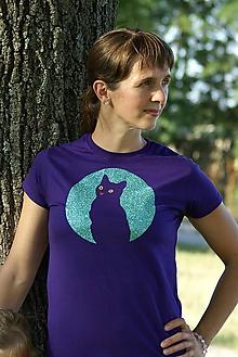 Tričká - Tričko - mačka v splne mesiaca - 10944488_