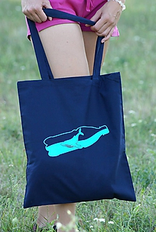 Nákupné tašky - Bavlnená taška - veľryba vo fľaši - 10944539_