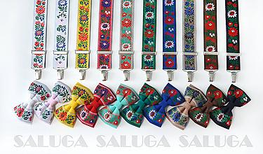 Doplnky - Folklórny motýlik a traky - set - ľudový - rôzne farby - 10944921_