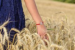 Náramky - Červený náramok vlčí mak (chir.oceľ, pozlátené) - 10944833_