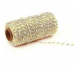 Galantéria - MO101 Motúzik farebný bavlnený 2 mm (Zlatá) - 10945203_