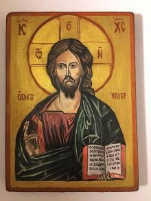 Obrazy - Ručne písaná ikona Ježiša Krista - 10945512_
