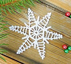 Dekorácie - Háčkovaná hviezdička na vianočný stromček - 10945359_