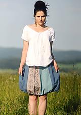 Sukne - Lněná s tiskem - Modrošedá - 10945102_