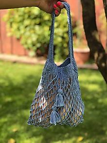 Detské tašky - pre dievčatká háčikom - nebesky modrá - 10945534_