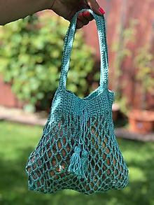Detské tašky - háčkovaná pre dievčatká - aqua mint - 10945544_