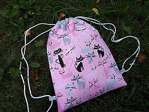 Batohy - Športový vak (Mačičky na ružovom podklade) - 10946074_