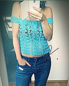 Tričká - Háčkované tričko - tyrkyss - 10947665_