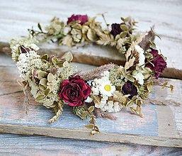 Ozdoby do vlasov - Kvetinový venček Boho ruže a pivonky - 10947514_