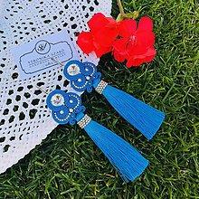 Náušnice - Ručne šité šujtašové náušnice so Swarovski®️crystals / Soutache earrings - Swarovski (Perla - šmolková modrá) - 10946825_