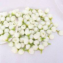 Polotovary - KT103 Púčiky textilné 2 cm  (Bielo-krémové) - 10946028_