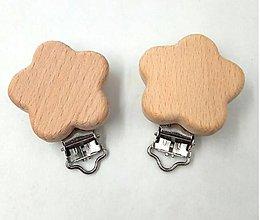 Galantéria - KL117 Klip drevený na retiazku na dudlík (Kvietok) - 10946037_