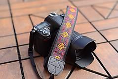 Iné doplnky - Popruh na fotoaparát oranžovo-červený - 10947297_