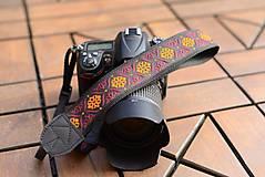 Iné doplnky - Popruh na fotoaparát oranžovo-červený - 10947298_