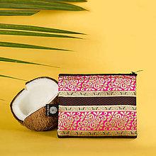 Peňaženky - Zero Waste brokátová peňaženka na zips VINITHA Pink Orient - 10946398_