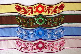 Opasky - Vyšívaný folklórny opasok1  (Modrá) - 10946489_