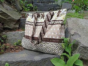 Veľké tašky - hnedo-kremová belka - 10946911_