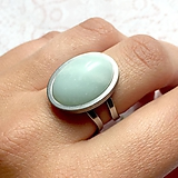 Prstene - Amazonite & Stainless Steel Ring / Prsteň s amazonitom z chirurgickej ocele - 10949002_