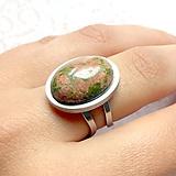 Prstene - Unakite & Stainless Steel Ring / Prsteň s unakitom z chirurgickej ocele - 10949013_