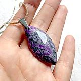 Náhrdelníky - Violet Jasper Steel Pendant / Prívesok naveta s fialovým jaspisom - 10949057_
