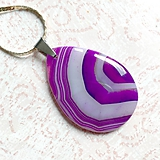 Náhrdelníky - Teardrop Violet Agate Steel Pendant / Prívesok slza s fialovým achátom - 10949068_