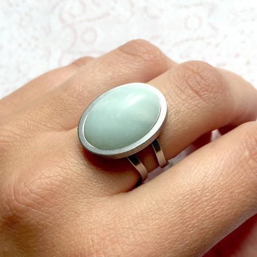 Amazonite & Stainless Steel Ring / Prsteň s amazonitom z chirurgickej ocele