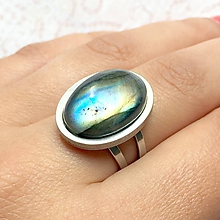 Prstene - Labradorite & Stainless Steel Ring / Prsteň s labradoritom z chirurgickej ocele - 10950335_