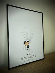 Darčeky pre svadobčanov - Svadobný obraz - postavičky - 10949211_