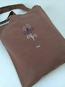 Nákupné tašky - Čokoládová (nákupka s ručnou výšivkou) - 10948535_
