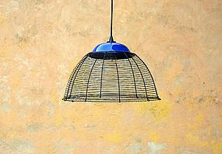 Svietidlá a sviečky - Modře. Drátovaný lustr. - 10950101_