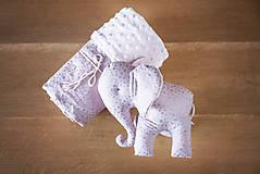 Textil - Set deky a sloníka - fialový - 10950031_