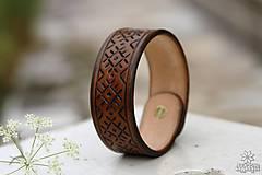 Náramky - Kožený náramok (Hnedá) - 10948983_
