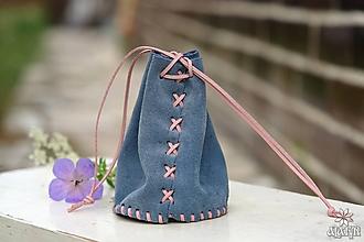 Peňaženky - Kožený mešec modrý - 10948922_