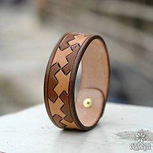 Náramky - Kožený náramok Výšivka - 10949150_