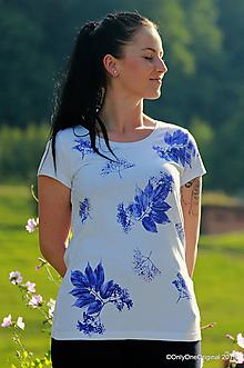 Tričká - Dámske tričko maľované JEMNE - 10949465_