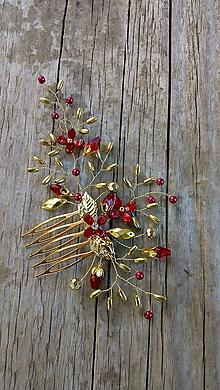 Ozdoby do vlasov - hrebienok - červené kvietky + zlatá - 10947893_