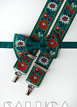 Doplnky - Folklórny pánsky zelený motýlik a traky - folkový - ľudový - 10949161_