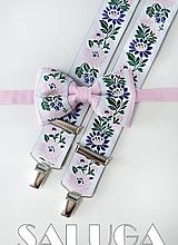Doplnky - Folklórny pánsky ružový motýlik a traky - folkový - ľudový - 10949180_