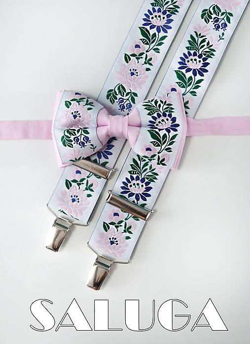 Folklórny pánsky ružový motýlik a traky - folkový - ľudový