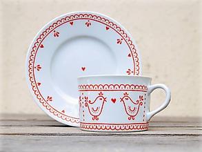 Nádoby - Maľovaná šálka na kávu s podšálkou (200 ml): Vtáčik folk (Červená) - 10948203_