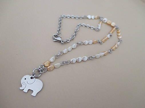SLON - náhrdelník - bielo/béžový - chirurgická oceľ