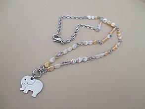 Náhrdelníky - SLON - náhrdelník - bielo/béžový - chirurgická oceľ - 10948313_