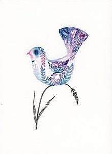 Obrazy - originál akvarel Vtáčik s ornamentom I. - 10948006_