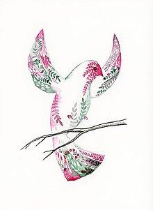 Obrazy - originál akvarel Vtáčik s ornamentom II. - 10948012_
