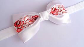 Doplnky - Folklórny červeno biely saténový motýlik - svadobný - 10949763_