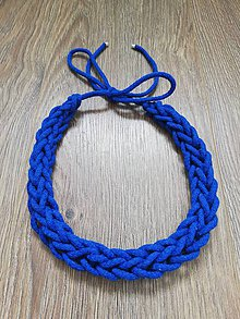 Náhrdelníky - Háčkovaný náhrdelník - reťazový  (Modrá) - 10948445_