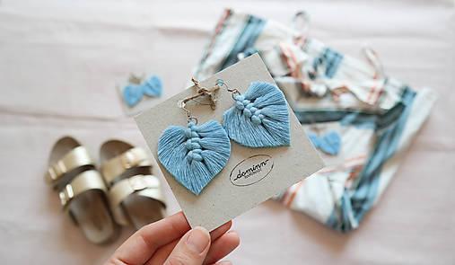 Macramé Náušnice - Baby blue